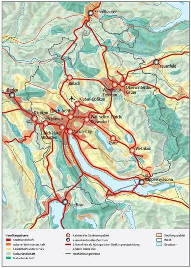die fünf Handlungsräume im Kanton Zürich